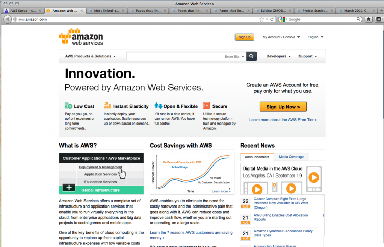 Amazon Web Services welcome screen