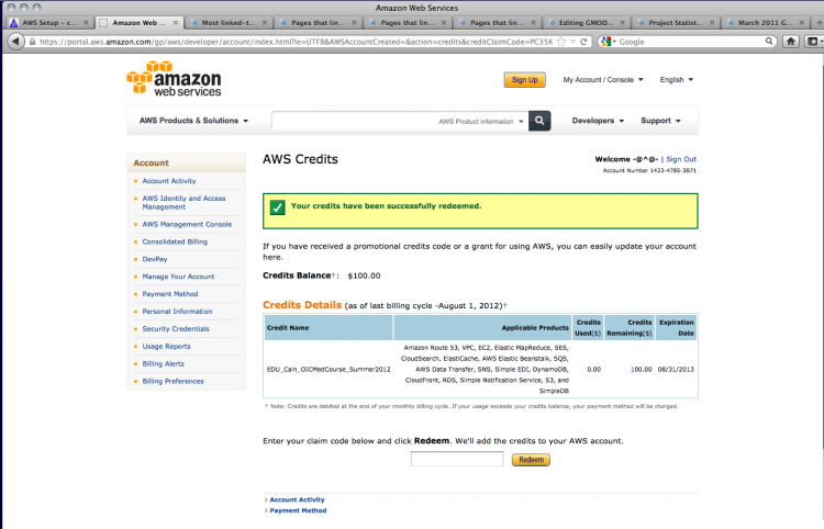 AWS credit applied - woohoo!